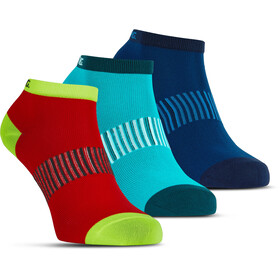Salming Performance - Calcetines Running - Pqte. Triple rojo/azul
